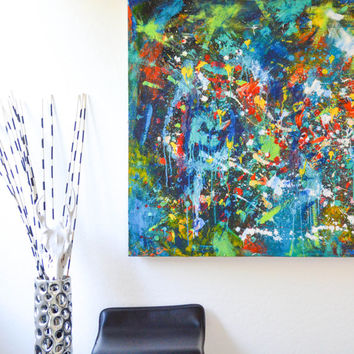 Let the Beat Drop- an original abstract acrylic painting, color explosion, urban art, splatter art, street art, modern art, paint splatter