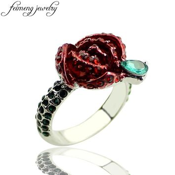 feimeng jewelry Beauty and The Beast Ring Princess Belle Charm Crystal Red Rose Flower Ring For For Women Fashion Accessories