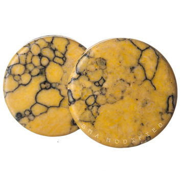 Hornet Yellow Synthetic Howlite Stone Plugs (3mm-25mm)
