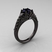 Designer Exclusive Classic 14K Black Gold 1.0 Carat Black Diamond Lace Ring R175-14KBGDBD