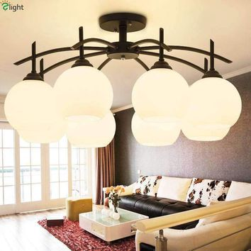 American Retro Metal E27 Led Ceiling Chandelier Lighting Lustre Glass Shades Dining Room Led Chandeliers Led Luminarias Fixtures