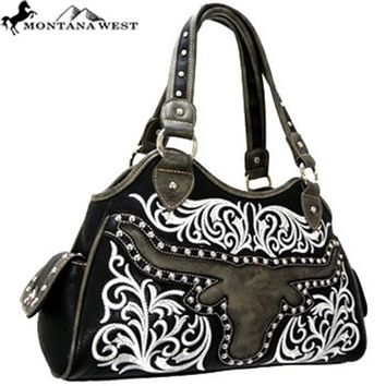 Montana West Western Cowgirl Texas Longhorn Steer Handbag Purse (Black)