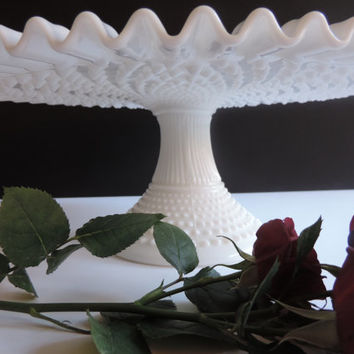 Fenton Hobnail Wedding Cake Stand Milk Glass Cake Plate Vintage Fenton White Milk Glass Pedestal Cake Stand features Black and Gold Label