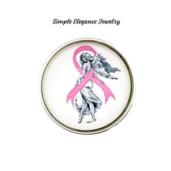 Pink Ribbon Angel Snaps 20mm for Snap Jewelry
