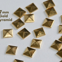 DIY Studs - 40 Gold 7mm Flat Back Pyramid Studs - Iron On, Hot Fix, or Glue On - Pyramids for iPhone Case, Sunglasses or Crafts