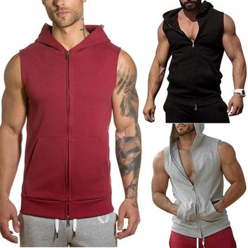 Men's Tie Hooded Running Jacket Sleeveless Solid Color Cardigan Sweatshirt Hoody Tops Gym Sport Vest Running Tops