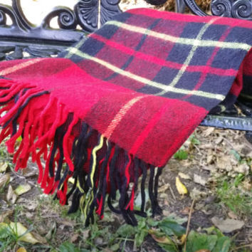 Red and Black Wool Tartan Plaid Stadium Blanket Afghan Throw