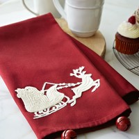 Sleigh Bell Crewel Embroidered Kitchen Towel