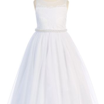 Venetian Lace Girls Communion Gown w. Tulle Skirt & Pearl Trim