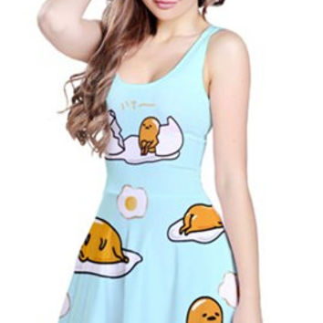 Kawaii Egg Baby All Over Print Twirly Dress