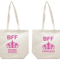 Drama Queen and Princess Girl BFFS Canvas Tote Bag