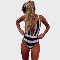 Black and white stripe bodysuit deep V-neck bathing suits brazil One Piece