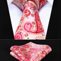 "Party Wedding Classic Pocket Square Tie TP706K8S Red Pink Paisley 3.4"" Silk Woven Men Tie Necktie Handkerchief Set"