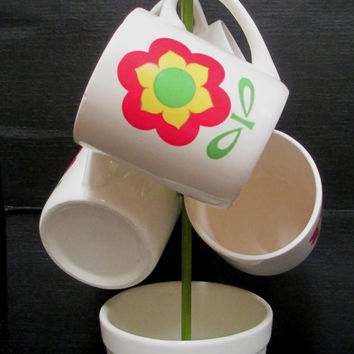 Vintage 1970s Flower Coffee Mug Set with Metal Rack Red Green Yellow Cups Retro Kitchen Japan