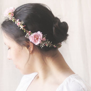 Pink Flower Crown, Rustic Circlet, Bridal Headpiece, Roses, Baby's Breath, Woodland Halo, Wedding Hair Accessories, Bohemian, Country