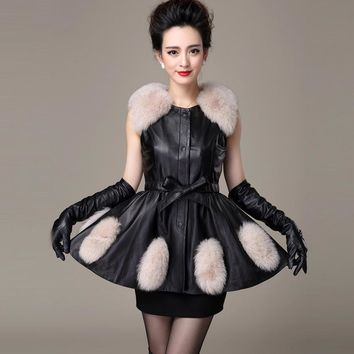 2017 new sheep stitching imitation fox fur swing style jacket vest Slim women's pu sheep leather fur vest factory direct wj679