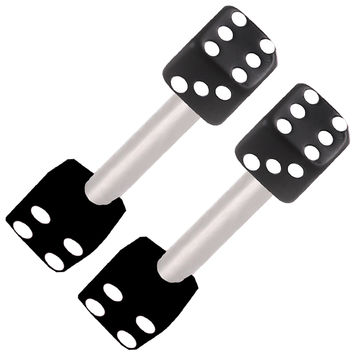 Realistic Dice Barbell [Gauge: 16G - 1.2mm / Length: 10mm / Ball Size: 3mm] 316L Surgical Steel & Acrylic (Black) // Set of 2