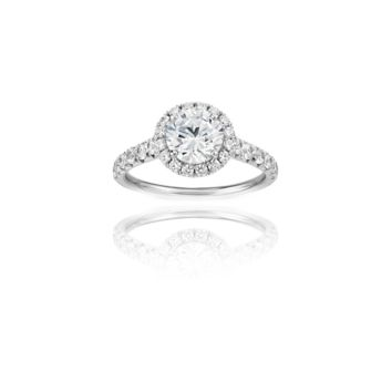 White Gold Pave Halo Engagement Ring, 14K with Clear CZ