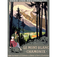 Mt Blanc Hiking Poster by Artist Roger Broders Wood Sign