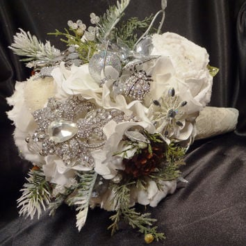 Winter wedding bouquet, brooch bouquet, white, mint, rustic elegance