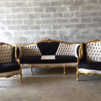 Baroque Tufted Settee Furniture Italian Antique Sofa Refinished Gold Leaf Reupholster Black Velvet Champagne Tufted French Louis XVI Rococo
