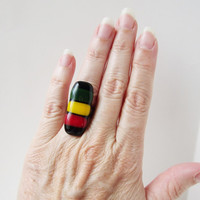 Rasta Ring - Rasta Jewelry - Adjustable Ring - Fused Glass Ring - Summertime Ring - Alternative Jewelry - Rastafarian - Boho Style