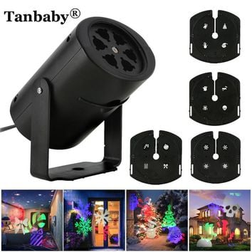 Tanbaby  Mini EU/US 100-240V Holiday light led projector spotlight with 4 slides Indoor/Outdoor Christmas,Party decoration