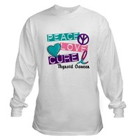 PEACE LOVE CURE Cystic Fibrosis (L1) T-Shirt on CafePress.com