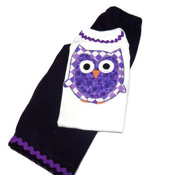 Baby Girl Outfit -  Girls Clothing Set - Girls Pant Set - Owl for Baby Girl