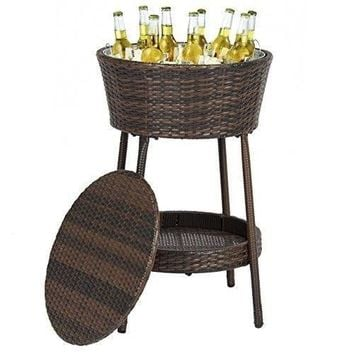 Outdoor Wicker Ice Bucket Patio Furniture All-Weather Beverage Cooler with Tray