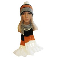 Winter Hat, Scarf Set - Cable Knit Scarf, Slouch Beanie Hat for Women