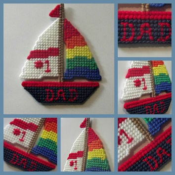 Number One Dad #1 Dad Sailboat Magnet for him husband father men made with plastic canvas