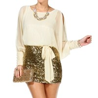 Ivory/Gold Blouson Seqin Dress
