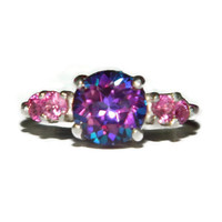 Mystic Topaz Ring, Poignant Bliss Variety, Purple Topaz, Pink Sapphire Accents