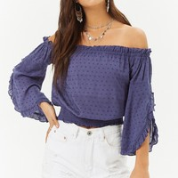 Clip Dot Off-The-Shoulder Top