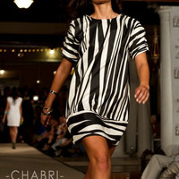Geometric Stripe Shift with Zebra Fringe Shoulder Detail by Chabri