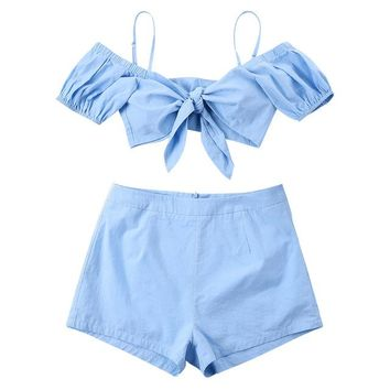 2 Two Piece Bikini 2018 Bikini Set Cami Top Shorts Two Piece Set Women Swimwear Sexy Bowknot Swimsuit Female Bathing Suits Biquini Beach Wear KO_21_2
