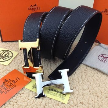 New Hermes black belt gold and silver double buckle & Silver 110cm