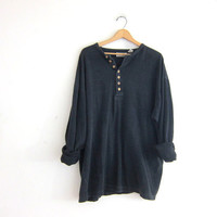 vintage long sleeve faded black thermal top. button front henley. long underwear shirt