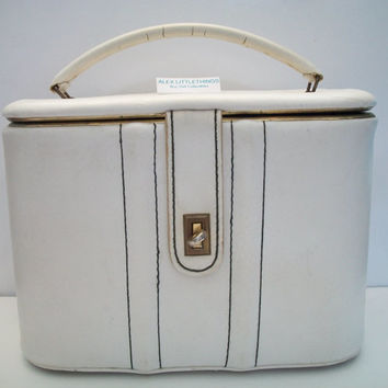 bone cosmetic case, vintage carry on case, square shaped off white make up kit