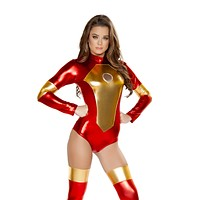 Metallic Iron Maiden Bodysuit Costume