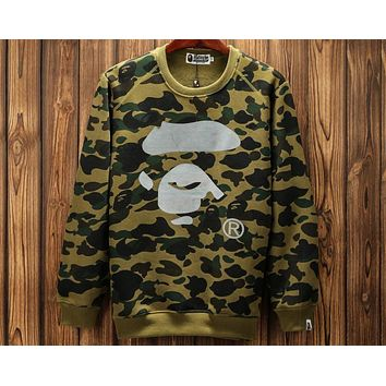 Bape 2018 new reflective camouflage printed round neck pullover sweater F-A-KSFZ Green