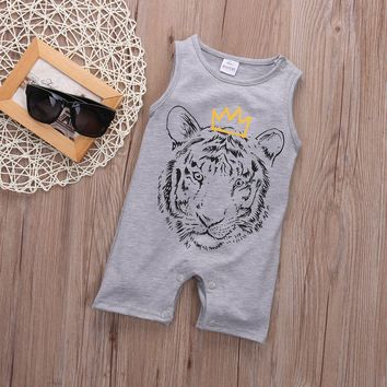 Newborn Toddler Infant Baby Boy Girl Unisex Clothes Tiger Printed Romper Jumpsuit Playsuit Outfits 0-24M
