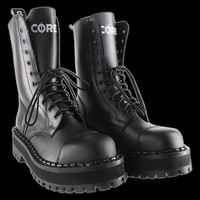 Altercore - 10 Eyelet Black Platform Steel Toe Boot