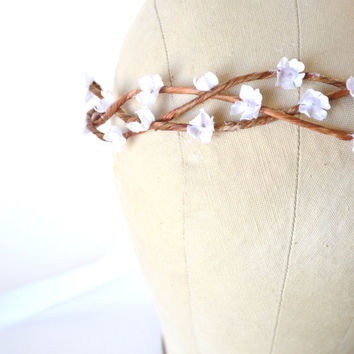 Woodland Head Wreath, Bridal Wreath, Floral Crown, Headband, Vine Wreath, Hairpiece, Twig, Crown, Tiara, Circlet, Simple - SNOW BLOOMS