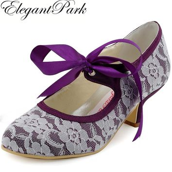 Woman Wedding Shoes A3039 Purple Closed Toe Low Heel Mary Jane Ribbon Tie Lace Bride Bridesmaid Bridal Women Bridal Shoes Black
