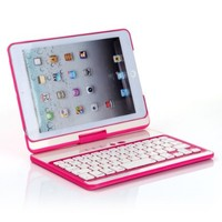 Masione™ Bluetooth Keyboard with 360 Degree Swivel Rotating Stand Hard Folio Case Cover For iPad mini (Pink)