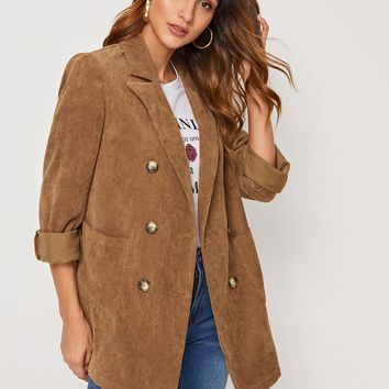 Notched Collar Double Breasted Pocket Patched Cord Coat