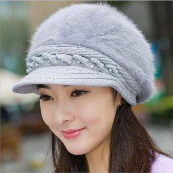 Elegant Women's Winter Rabbit Fur Hat Female Fall Knitted Hats for Woman Cap Ladies Fashion Skullies Beanies