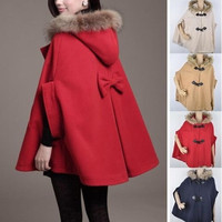 Women Cape Poncho Cloak Winter Jackets Women Faux Fur Hooded Wool Winter Coats Woman Overcoat Manteau Women Chaquetas Mujer = 1830058756